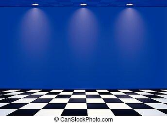 kék, kockás, szoba, emelet, fal, felett, lenget, címzett, 80, gőz