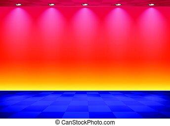 kék, kockás, szoba, emelet, fal, felett, lenget, címzett, 80, gőz, piros