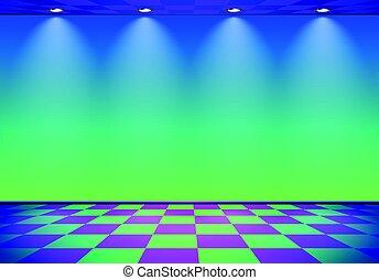 kék, kockás, szoba, emelet, fal, felett, lenget, zöld, címzett, 80, gőz