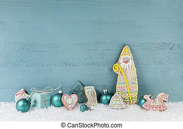 kék, kopott, fából való, fény, karácsony, háttér, sikk, style.