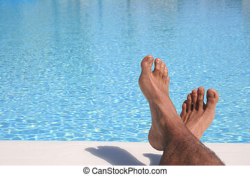 kék, lábak, pocsolya