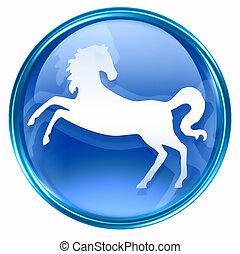 kék, ló, állatöv, ikon
