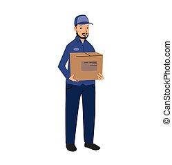 kék, lakás, box., illustration., elszigetelt, egyenruha, felszabadítás, háttér., vektor, birtok, fehér, ember