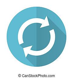 kék, lakás, felfrissít, aláír, reload, ikon