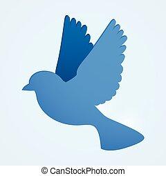 kék, lakás, média, concept., társadalmi, bird.
