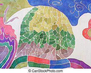 kék, levél növényen, szürke, elvont, batik, zöld, selyem