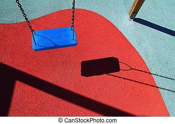 kék, liget, hinta, vagy, piros, emelet, gyerekek, játszótér