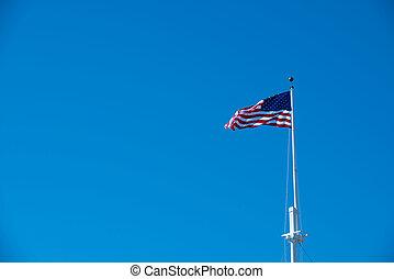 kék, lobogó, ég, amerikai, ellen
