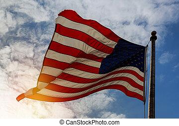 kék, lobogó, ég, amerikai