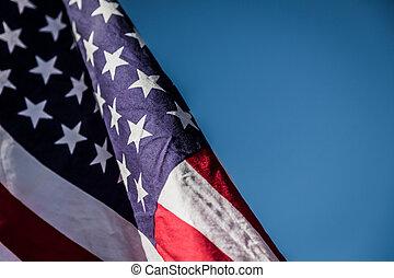 kék, lobogó, amerikai, ég, felett