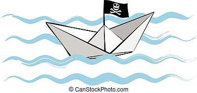 kék, lobogó, lenget, ábra, dolgozat, vektor, csónakázik, kalóz