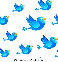 kék, média, seamless, háttér, társadalmi, madár