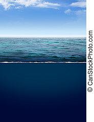 kék, mély, óceán