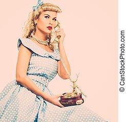 kék, mód, nő, gombostű, szüret, fiatal, coquette, feláll, telefon, szőke, ruha