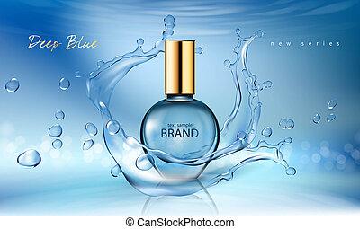 kék, mód, palack, gyakorlatias, ábra, illatszer, víz pohár, loccsanás, háttér