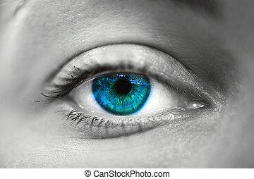 kék, makro, woman szem