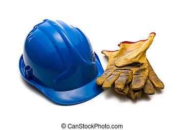 kék, megkorbácsol, pár kesztyű, dolgozó, hardhat