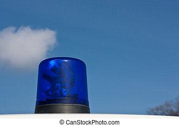 kék, mentőautó, fény, (1)