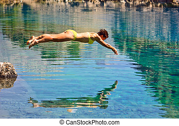 kék, merülés, leány, tó, mély