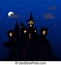 kék, mindenszentek napjának előestéje, tető, ábra, hold, sötét háttér, gót, csillaggal díszít, éjszaka, bástya, ünnep, hol, hegy