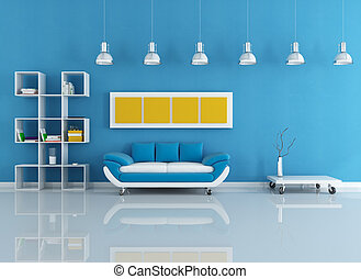 kék, modern, belső