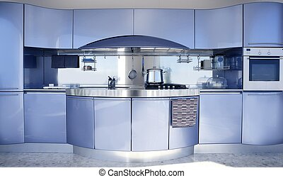 kék, modern, dekoráció, építészet, ezüst, konyha