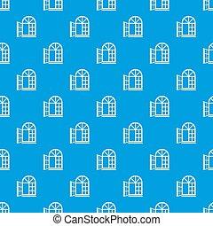 kék, motívum, ablak keret, seamless