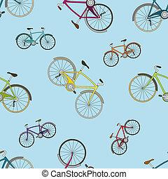 kék, motívum, seamless, bicycles, vektor, háttér