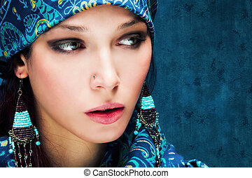 kék, nő