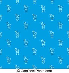 kék, nagy, kaktusz, seamless, motívum