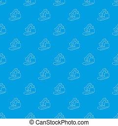 kék, nagy, seamless, kubikos, motívum