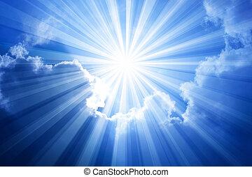 kék, nap, ég, elhomályosul