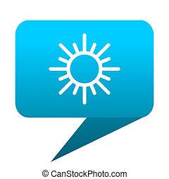 kék, nap, buborék, ikon