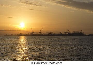 kék, napkelte, rakomány, tenger rév