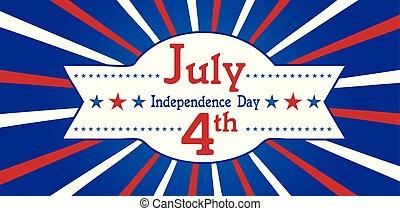 kék, negyedik, július, transzparens, white piros