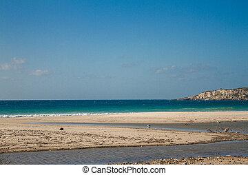 kék, nyár, hegyek, nap, ég, óceán, homok, dezertál