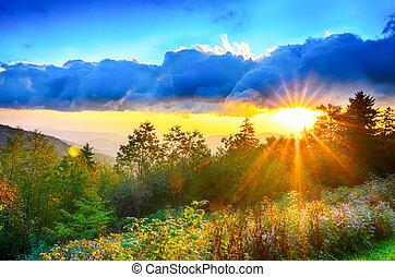 kék, nyár, hegygerinc, hegyek, appalachian, késő, napnyugta, nyugat, parkosított széles főközlekedési út