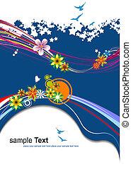 kék, nyár, illustration., háttér., vektor, virágos