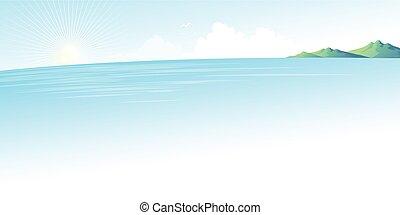 kék, nyár, parkosít., ábra, vektor, tenger