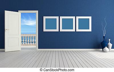kék, nyár, szoba