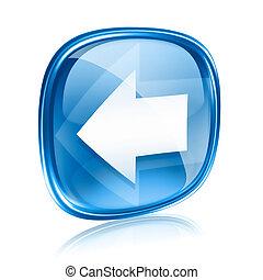 kék, nyíl, elszigetelt, háttér., pohár, fehér, ikon, bal