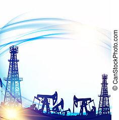 kék, olaj, fúrótorony, felett, ég terep, pumpd, háttér.