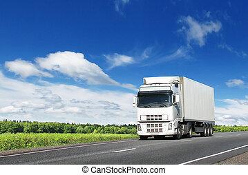 kék, ország, ég, csereüzlet, alatt, fehér, autóút