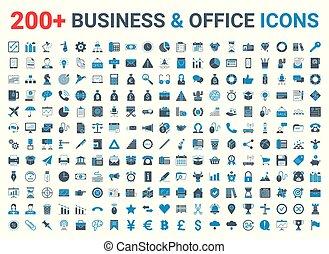 kék, pénzel, ikonok, set., hivatal, ügy, fekete