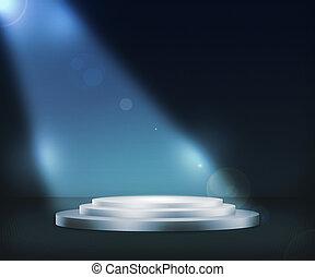 kék, pódium, reflektorfény, háttér
