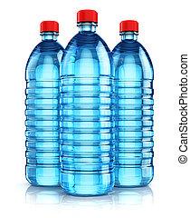 kék, palack, ital, műanyag, víz, csoport