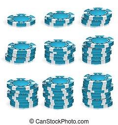 kék, piszkavas kicsorbít, kazalba rak, vector., 3, realistic., kerek, piszkavas, játék, játékpénz, aláír, elszigetelt, képben látható, white., kaszinó, nagy, győz, fogalom, illustration.