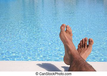 kék, pocsolya, lábak