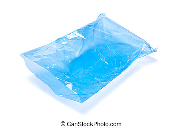 kék, polietilén, üres, csomag