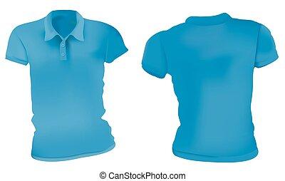 kék, polo ing, sablon, nők